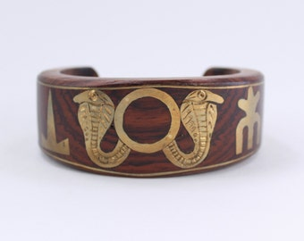 Vintage Wooden Inlaid Cobra Snake India Made Egyptian Revival Brown Goldtone Wood Chunky Symbol Boho Bohemian Tribal Cuff Bangle Bracelet