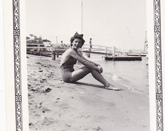 Vintage 1940's Pretty swimsuit woman sitting on beach DIGITAL DOWNLOAD