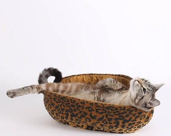 Leopard Fabric Cat Bed for your Modern Cat - the Cat Canoe jungalow pet bed - nest style pet bed - African decor pet bed