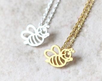 Cute HoneyBee Necklace / choose your color / gold and silver