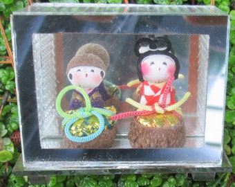 Vintage Mini Kokeshi Type Dolls in Glass Case and Mini Asian Fan on Bamboo Stand. Original Boxes. Made in Japan.  G-314