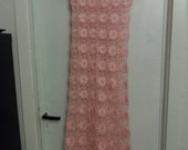Crochet lace pink rose flowers romantic long maxi summer bridal  wedding beach party dress Ready to ship!