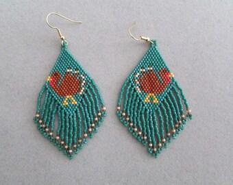 Beaded Turkey Earrings for Thanksgiving
