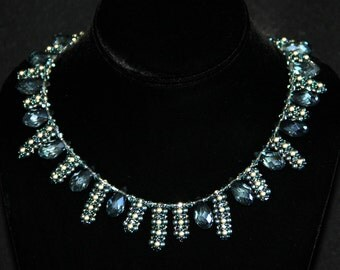 Ice Blue Necklace, Briolettes Cut Glass, Swarovski Pearls, Ice Blue Collar Necklace, Beaded Beads, Beadweaving Jewelry, Amy Johnson NT1562