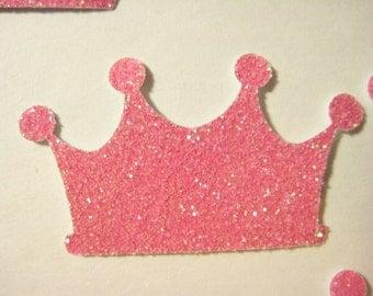 25 Pink Glittered Crowns punch die cut confetti scrapbooking embellishments E1634