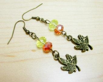 Maple Leaf Earrings Fall Earrings Autumn Jewelry Bronze Leaves Orange and Yellow Rondelles 308
