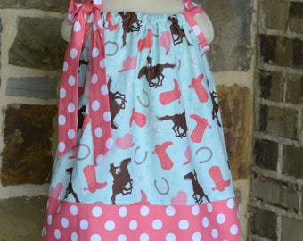Aqua and Coral Rodeo Cowgirl Pillowcase Dress