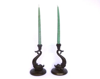 VINTAGE DOLPHIN CANDLESTICKS