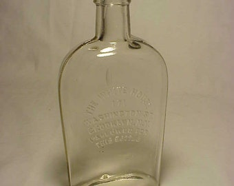 c1890s The White House Brooklyn, N.Y., Strap Side Half Pint Slug Plate Whiskey Flask