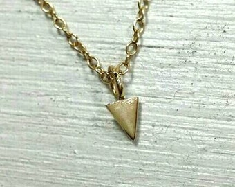 Gold Triangle 14k necklace, petite triangle charm, mini gold necklace, mini triangle necklace,  gold jewelry, simple gold necklace