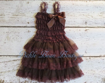 Lace Flower Girl Dress - Brown - Size 2T 3T - Baby Wedding Dress - Rustic Flower Girl Dress - Cowgirl Dress - Country Flower Girl Dress
