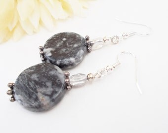Black Earrings Dangle, Grey Beaded Earrings Sterling Silver Jewelry, Birthday Gift for Mom, Boho Earrings Bohemian Jewelry, Mothers Day Gift