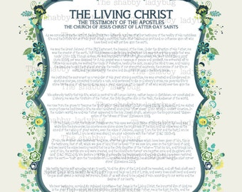 The Living Christ Instant Download Yellow, Aqua, Green 11x14