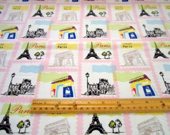 Pepe in Paris Stamps Pink premium cotton fabric from Riley Blake