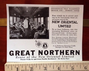 Great Northern New Oriental Limited 1925 Ad size as shown in photos