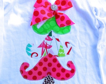 Christmas Tree Shirt - Personalized Plush Tiered Tree Appliqued Christmas Shirt  by Bubblebabys