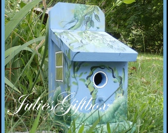Handmade Hand Painted Baby Blue Birdhouse-Indoor Outdoor-