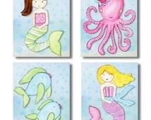 Set of 4 Key West Mermaids DIY Instant Digital Nursery Artwork for Girl Baby Room, Nursery or Play Room