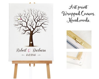 Art print wrapped canvas + 3 ink pads - Wedding Tree Guest Book - Fingerprint -  Thumb Tree  -  20- 130 guests - Tree print - Canvas print