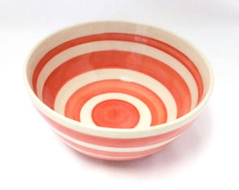 Orange and White Ceramic Bowl with Stripes, Cereal Bowl, Soup Bowl, Salad Bowl