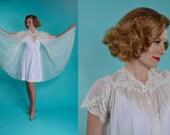 Vintage 1950s Van Raalte Robe - White Lace Peignoir Robe - Honeymoon Fashions