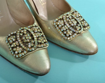 Vintage 1960s Gold Shoes - Rhinestone Buckle High Heel Stiletto - Bridal Fashions Size