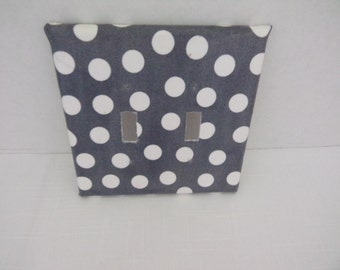 Gray and White Polka Dot Two Toggle Light Switchplate Cover