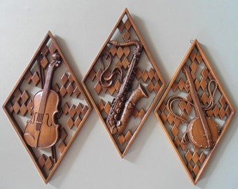 CARVED BURWOOD Cello Saxophone & Banjo Wall Hangings