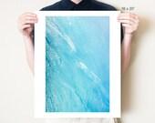 Abstract waves, ocean photography. Turquoise water texture fine art photograph, serene coastal art print. Blue home decor Ionian Sea photo
