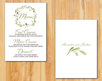 Leaves and Olives Wedding Menu 50qty, Grape and Green Reception Menu, Winery Personalized Wedding Table Setting Custom Designed