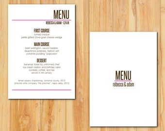 Modern Pink and Chocolate Brown Wedding Menu 50qty, Clean Lines Reception Menu, Personalized Wedding Table Setting Custom Designed