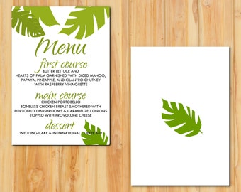 Tropical Leaves Wedding Menu 50 qty, Beach Wedding Event Reception Menu, Personalized Wedding Table Setting Custom Designed