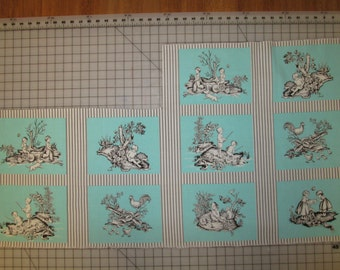 Michael Miller Kid's Toile Squares Teal Brown fabric partial panel Last piece - out of print