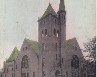 First Congressional Church- 1900s Antique Postcard- St Joseph, Missouri- Edwardian Souvenir- Paper Ephemera- Used