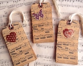 Vanilla Scented Coffee Stained Shipping Tag stamped with sheet music ~ copper metallic heart or silver aluminum butterfly embellishment ~