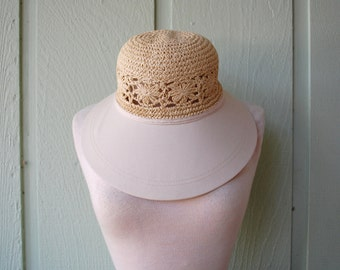 Vintage Sun N Sand One Size Fits Most Cap Hat Large Brimmed Hat Straw Sun Hat Tan Boho Bohemian Hippie Vegan Natural Native Preppy Hipster