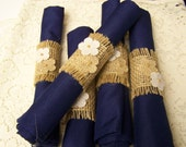 burlap wedding, 30 napkins and rings, Navy Blue napkins, dinner napkins, wedding rehearsal