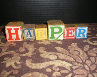 Vintage Colored Wooden Children Toy Blocks Spelling HARPER Wood Block Names Words