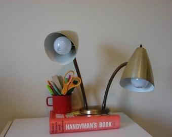 Vintage brass gooseneck desk lamp