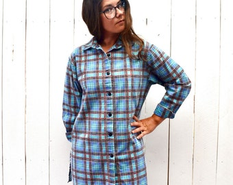 Plaid Button Up Early 90s Turquoise Blue Cotton Vintage Long Sleeve Oxford Shirt Medium Large