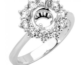 Diamond Ring Setting, Semi Mount, Diamond Engagement Ring Setting, Halo Diamond Engagement Ring, 2Ct. Center Round Diamond Engagement Ring