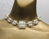 Sale Natural hemp choker necklace with white faux pearls and crystal clear glass beads. Long ties in back. CHK-101