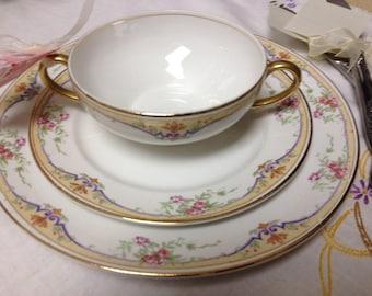 Vintage Pope Gosser Bouillon Cups Double Handle Cream Soup Bowls w/ Plates - #2043