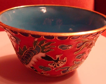 "Post 1940s Chinese Old Cloisonne Dragon Phoenix Bowl 4"" Handwork Carved Antique"