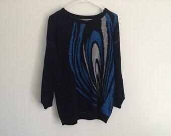 1980s Geometric metallic oversized slouchy HIPSTER sweater / starry night