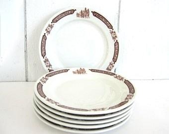 Vintage Dinner Plate Set Restaurant Ware China Walker Restaurantware Fall 9 Inch Plates Brown Building Rockford College University