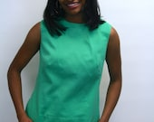 1960s Sleeveless Green Top