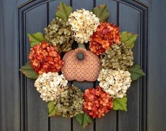 Hydrangea Wreath Summer Wreath Fall Wreath Grapevine Door Wreath Orange Green Cream Hydrangea Floral Door Decoration Indoor Outdoor Decor