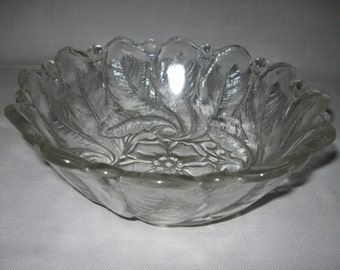 "Wild Rose Round Clear Fruit Bowl 9"" Indiana Glass Co Discontinue 1950-1980"