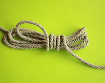 3 mm Linen Rope = 5 Yards = 4.57 Meters of Natural Linen Twisted Cord - Decorative Rope